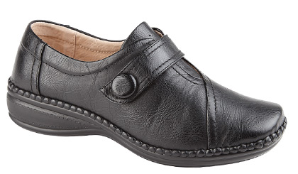 Ladies Black Leather X Wide Twin Touch Fastening Shoe