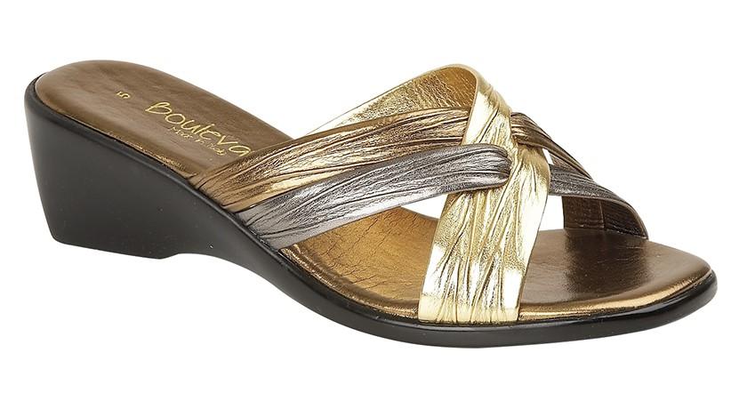 Ladies Evening Sandals L9558BG Lucia Cross Over Mule Padded Sock Upper -  Bronze   Pewter